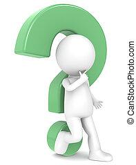 3d carácter humano con un signo de interrogación verde