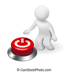 """3D carácter humano, persona y un botón con """"Power"""""""