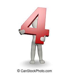 3D Caracter humano reteniendo el número 4