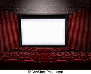 3d, cine, ilustración, asientos, grande, teatro, rojo, pantalla