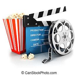 3d. Clapper de cine y rollo de película