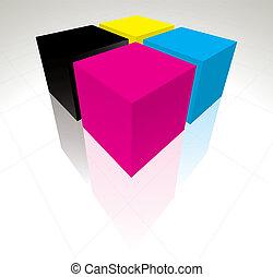 3D CMYK cubos