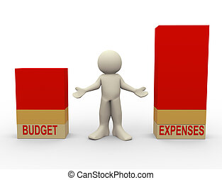 3d, comparación, gastos, presupuesto, hombre