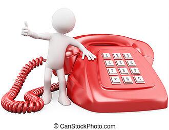 3D con un enorme teléfono rojo