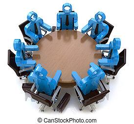 3D conociendo gente de negocios, una sesión detrás de una mesa redonda