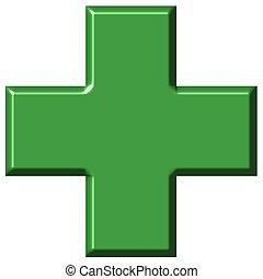 3d, cruz, farmacia