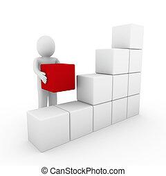 3d cubo humano blanco rojo