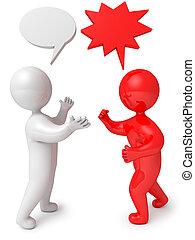 3D de debate de diálogo de personas