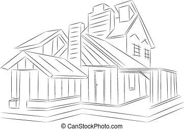 3D de la casa. Trasfondo blanco.