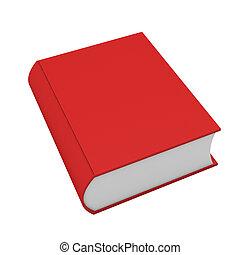 3d de libro rojo sobre blanco