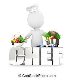 3D de los blancos chef