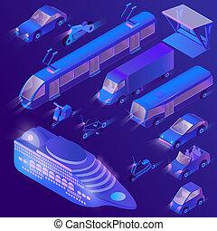 3D de transporte urbano ultra violeta