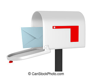3D de una caja de correo abierta con sobre