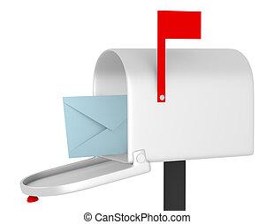 3D de una caja de correo abierta con un sobre