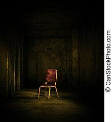3D de una vieja silla en casa embrujada