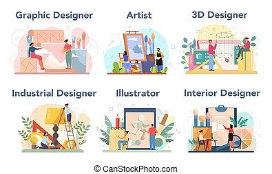 3d, diseñador, industrial, diseñador, concepto, interior, set., gráfico