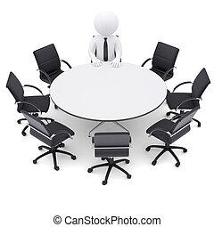 3D en la mesa redonda. Siete sillas vacías