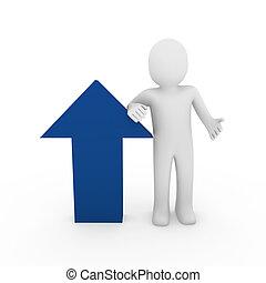 3d flechas humanas éxito azul alto negocio