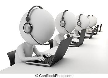 3d gente pequeña - centro de llamadas