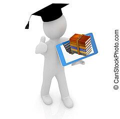 3d hombre blanco en un sombrero de postgrado con pulgar hacia arriba, libros y tableta pc - el mejor regalo un estudiante en un fondo blanco