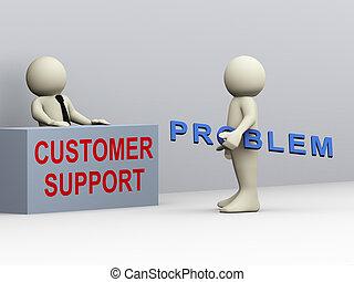 3d hombre y apoyo al cliente