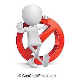 3d, humano, prohibición, señal