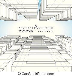 3d, ilustración, arquitectura, resumen, edificio, urbano, fondo., diseño