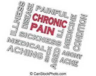 3D imagen CHRONIC PAIN problemas concepto palabra fondo de nube