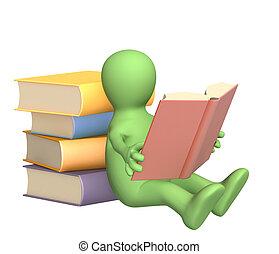 3d, libro, lectura, títere