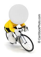 3D personas blancas corriendo ciclista