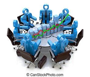 3D personas de negocios en una reunión en una mesa redonda y un gráfico financiero - diagrama