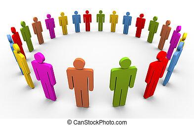 3D personas en círculo