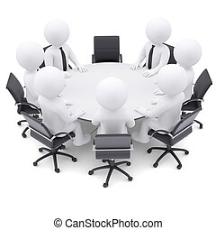 3D personas en la mesa redonda. Una silla está vacía