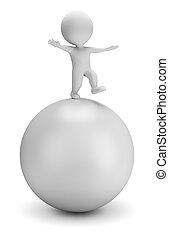 3D personas pequeñas - balances en la pelota