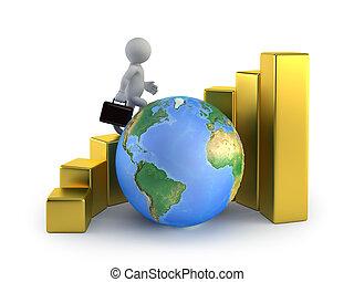 3D personas pequeñas - el crecimiento global de negocios