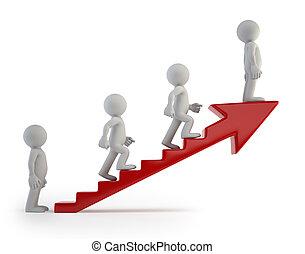 3D personas pequeñas - escalera de éxito