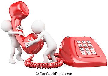 3D personas pequeñas hablando por teléfono