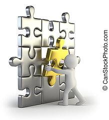 3D personas pequeñas - Inserción de rompecabezas dorado