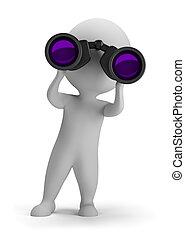 3d personas pequeñas - mirando a través de los prismáticos