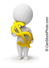 3D personas pequeñas - símbolo de dólar en las manos