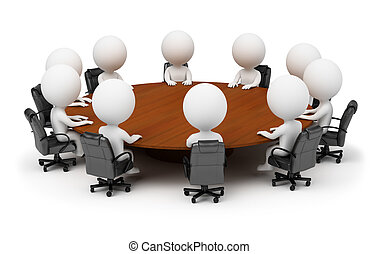 3D personas pequeñas - sesión detrás de una mesa redonda