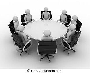 3D personas - sesión detrás de una mesa redonda. Imagen 3D. Aislado