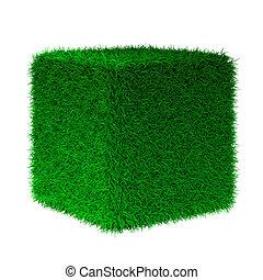 3d porción de cubo de hierba