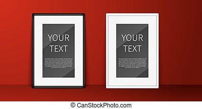 3D, publicidad, arte, estandarte, negro, blanco, tabla, frontera, caja, tarjeta, cuadro, cuadro, galería, gráfico, ahorcamiento, imagen, interior, mensaje, moderno, oficina, página, pintura, papel, foto