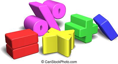3d símbolos matemáticos o señales