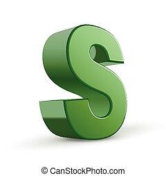 3d, s de carta, verde