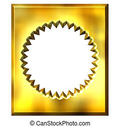 3D sello de oro enmarcado