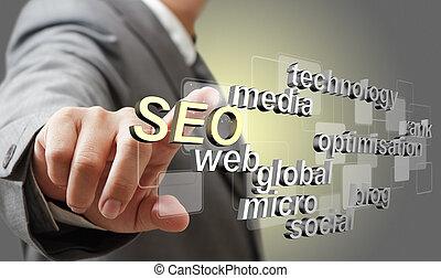 3d SEO optimización del motor de búsqueda como concepto