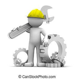 3D trabajador industrial con llave inglesa