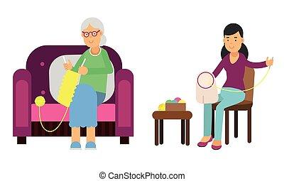 3º edad, conjunto, tejido de punto, vector, mujer, crocheting, ilustración